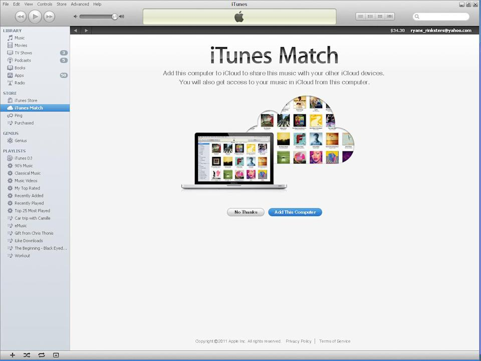 This screen shot provided by Apple.com, shows a page from iTunes Match. Apple's iTunes Match is fundamentally more oriented to work with downloading in mind, and it meshes well with your existing song library, either on your device or on your computer. (AP Photo/Apple.com)