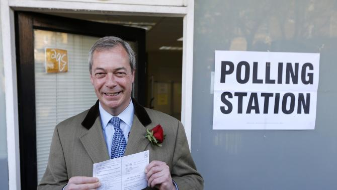 Nigel Farage, the leader of the United Kingdom Independence Party (UKIP) arrives to vote in Ramsgate, southern England