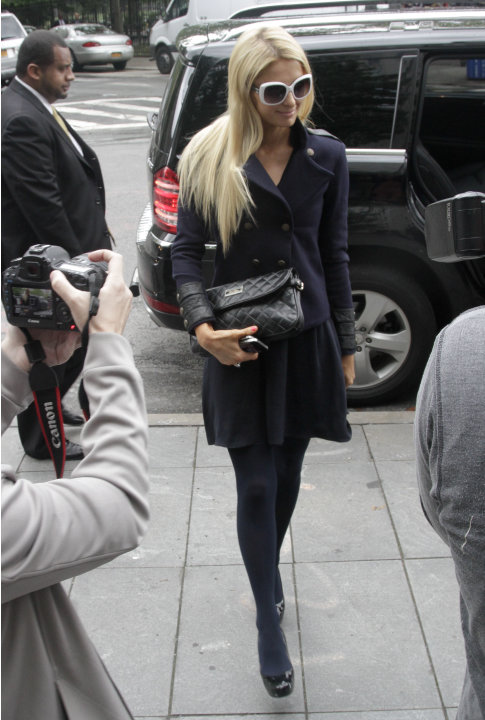 Paris Hilton arrives at federal court in lower Manhattan on Monday, June 4, 2012, in New York. Hilton was in court for settlement talks with an Italian designer that sued her over a licencing agreemen