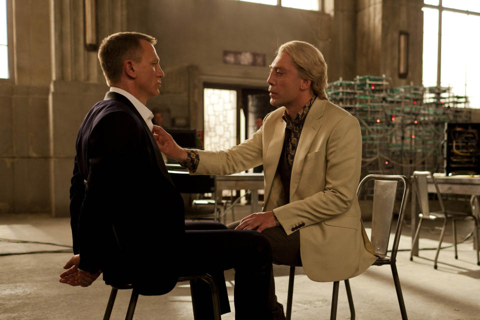 "FILE - This publicity film image released by Sony Pictures shows Daniel Craig, left, and Javier Bardem in a scene from the film ""Skyfall."" Bardem portrays, Raoul Silva, one of the finest arch-enemies in the 50-year history of Bond films. (AP Photo/Sony Pictures, Francois Duhamel, File)"