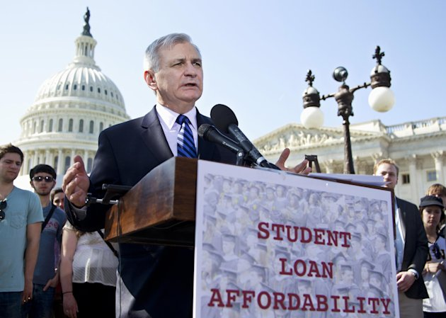 FILE - In this March 13, 2012, file photo Sen. Jack Reed, D-R.I., joins students at a Capitol Hill news conference to announce the collection of over 130,000 letters to Congress to prevent student loan interest rates from doubling this July. The Senate planned a Tuesday May 8, 2012 roll call on a plan, which would extend today&#39;s 3.4 percent interest rates on subsidized Stafford loans for another year. (AP Photo/Manuel Balce Ceneta, File)