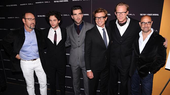 """From left, actors Kevin Spacey, Penn Badgley, Zachary Quinto, Simon Baker, Paul Bettany and Stanley Tucci attend the premiere of """"Margin Call"""" on Monday, Oct. 17, 2011, in New York. (AP Photo/Peter Kramer)"""