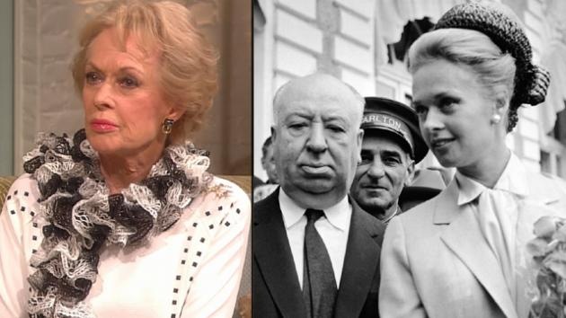 Tippi Hedren on Access Hollywood Live on Oct. 19, 2012; Alfred Hitchcock and Tippi Hedren in May 1963 -- Getty Images
