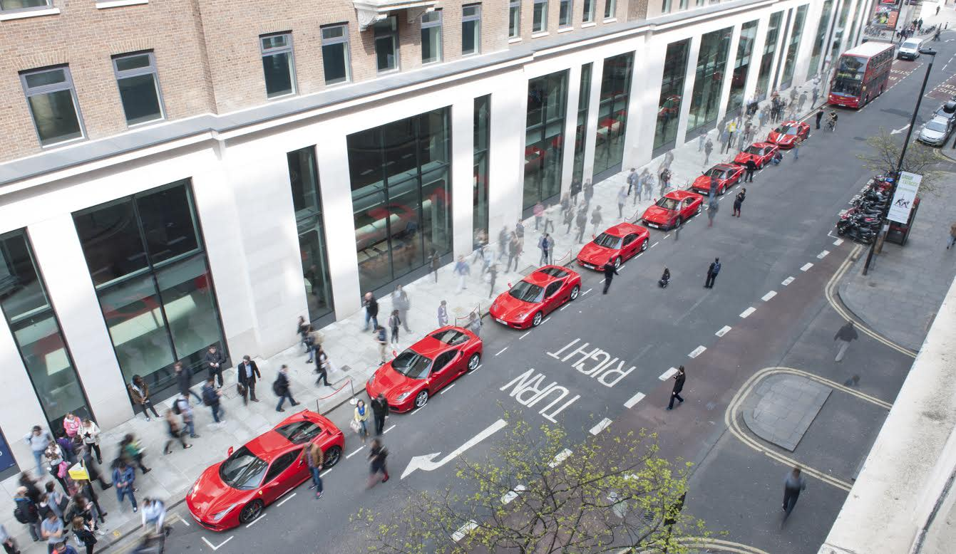 This is what is looks like when 9 Ferraris are lined up in London