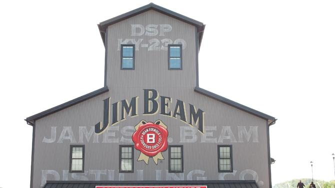 This Oct. 3, 2012 photo shows the Jim Beam visitors center at its central distillery in Clermont, Ky. The $20 million center, called the Jim Beam American Stillhouse, is a replica of a 1930s stillhouse and is three times the size of the distillery's old tourist center. (AP Photo/Bruce Schreiner)