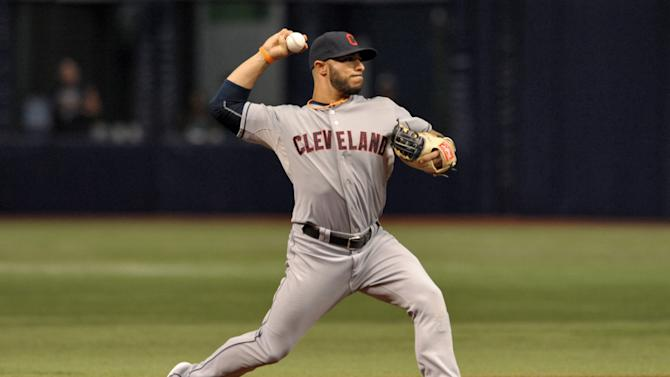 Cleveland Indians shortstop Mike Aviles fields a ground ball during a baseball against the Tampa Bay Rays game Wednesday, July 1, 2015, in St. Petersburg, Fla. (AP Photo/Steve Nesius)