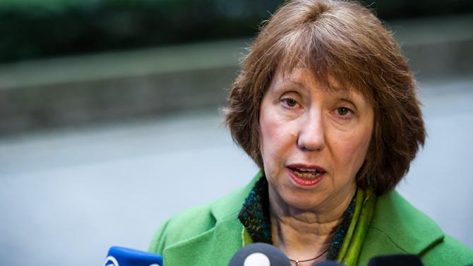 EU High Representative for Foreign Policy Catherine Ashton addresses the media prior to an EU Foreign Ministers meeting at the EU Council building in Brussels, Monday, March 11, 2013. (AP Photo/Geert Vanden Wijngaert)