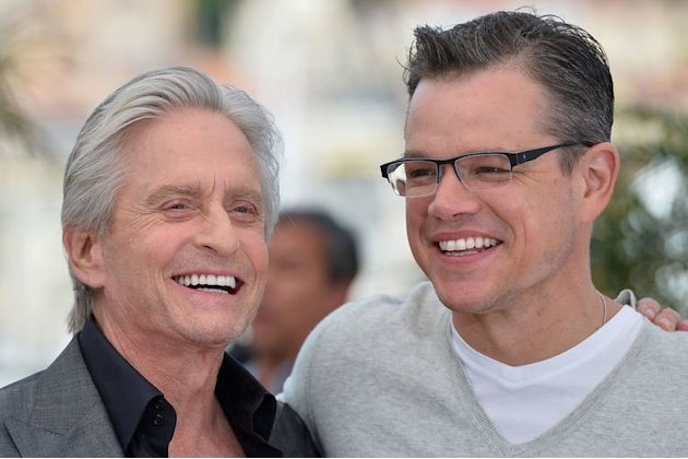 US actors Michael Douglas (L) and Matt Damon pose on May 21, 2013 in Cannes
