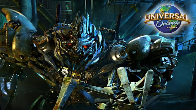This photo illustration released by Universal Orlando Resort shows an image promoting the Transformers: The Ride, an attraction that will officially open on June 20, 2013 at Universal Studios Florida. (AP Photo/Universal Orlando Resort via PR Newswire)