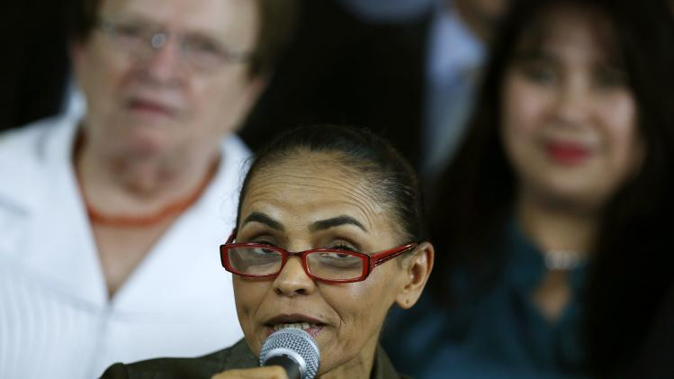 Marina Silva speaks during an event in Brasilia
