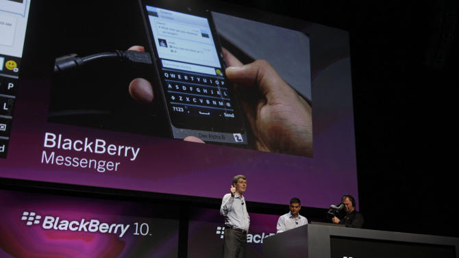 FILE - In this Sept. 25, 2012 file photo, Thorsten Heins, President and CEO of Research in Motion, gestures while talking about the messenger capabilities of the new BlackBerry 10 at the BlackBerry Jam Americas conference in San Jose, Calif.  BlackBerry-maker Research In Motion, which is already struggling with plunging sales, on Thursday, Dec. 20, 2012 said it lost subscribers for the first time in the latest quarter, as the global number of BlackBerry users dipped to 79 million and the stock plunged in after hours after the company said it will change the way it shares revenue with carriers. (AP Photo/Eric Risberg, File)