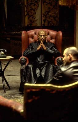 Morpheus ( Laurence Fishburne ) in Warner Brothers' The Matrix: Reloaded
