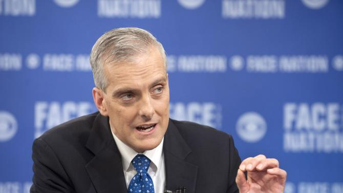 """White House Chief of Staff Denis McDonough speaks with Bob Schieffer on CBS News """"Face the Nation"""" in Washington"""