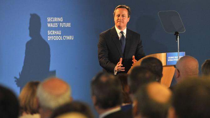 Britain's Prime Minister David Cameron speaks at the Welsh Conservative Party Conference in Cardiff