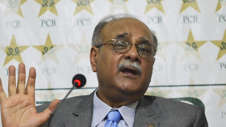 Chairman of the Pakistan Cricket Board (PCB) Najam Sethi speaks during a press conference in Lahore on June 30, 2014
