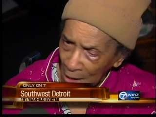 This video television frame grab provided by WXYZ.com shows Texana Hollis of Detroit.  Hollis, A 101-year-old woman,  was evicted from the southwest Detroit home where she lived for nearly six decades