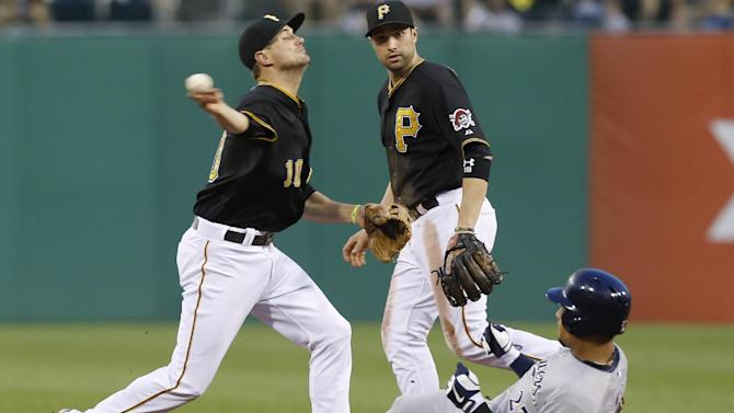 Pittsburgh Pirates shortstop Jordy Mercer (10) relays to first after the force out on Milwaukee Brewers' Carlos Gomez (27) to complete a double play on Aramis Ramirez in the fifth inning of the baseball game on Friday, June 28, 2013, in Pittsburgh. Pirates second baseman Neil Walker is at center. (AP Photo/Keith Srakocic)