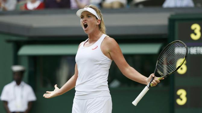 Coco Vandeweghe of the U.S.A. reacts after winning the second set during her match against Maria Sharapova of Russia at the Wimbledon Tennis Championships in London