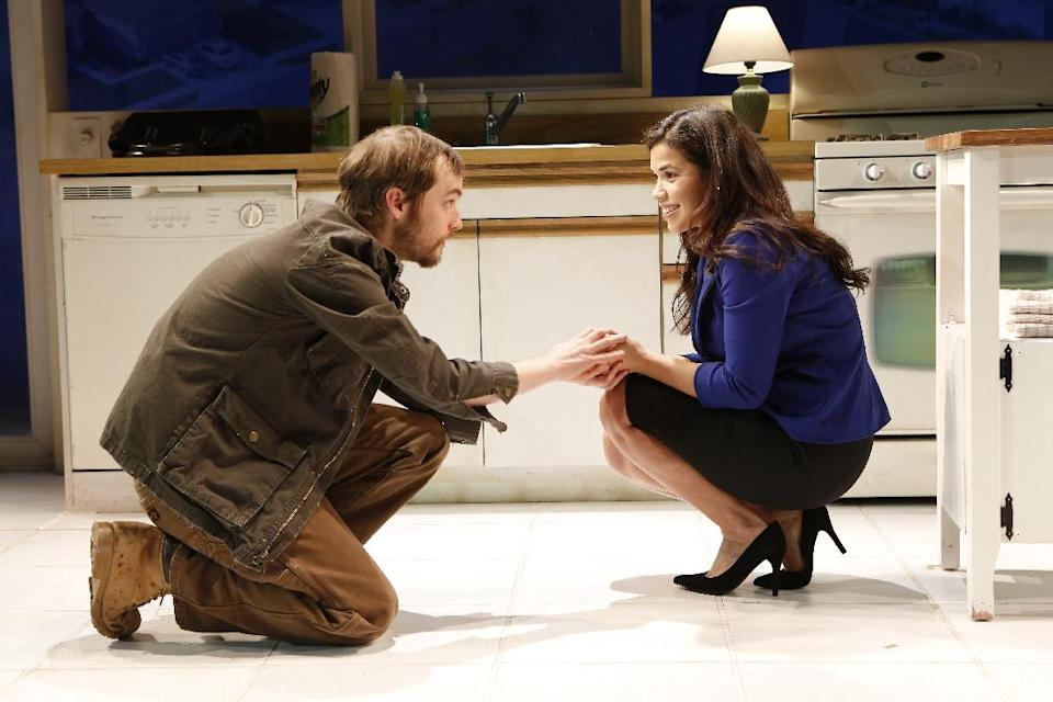 "This theater publicity photo released by The Bruce Cohen Group, shows Tobias Segal, left, and America Ferrera in a scene from ""Bethany,"" currently performing off-Broadway at New York City Center Stage II. (AP Photo/Bruce Cohen Group, Carol Rosegg)"