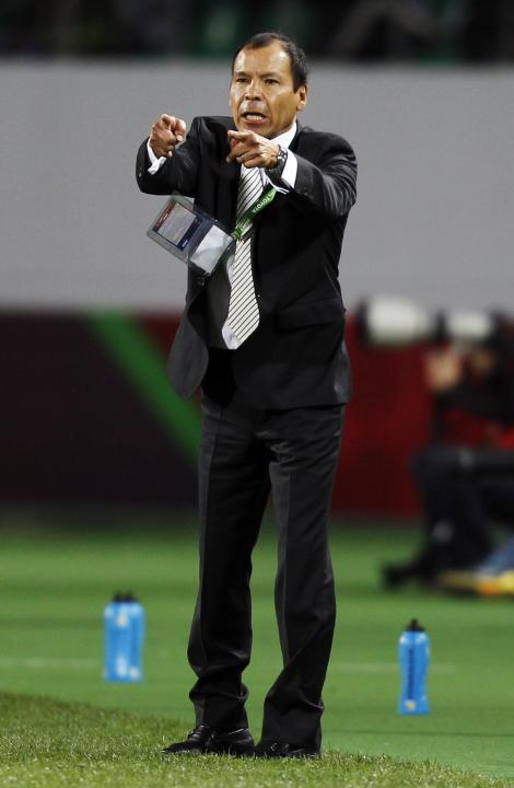 Mexico's Monterrey coach Cruz reacts during their FIFA Club World Cup soccer match against Morocco's Raja Casablanca in Agadir