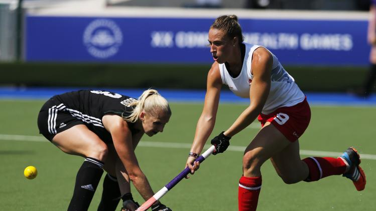 Wales' Budd challenges England's Townsend during their women's preliminary hockey match at the 2014 Commonwealth Games in Glasgow