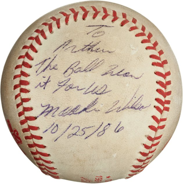 "This undated image, provided by Heritage Auctions, shows the ""Buckner Ball,"" the baseball that dribbled between the legs of Boston Red Sox first baseman Bill Buckner during the 10th inning of Game Six"