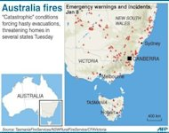 "Graphic locating bushfire warnings in the Australian states of New South Wales, Victoria and Tasmania. Bushfires are raging out of control across Australia's most populous state, fanned by intense heat and high winds in ""catastrophic"" conditions that threatened homes and triggered evacuations"