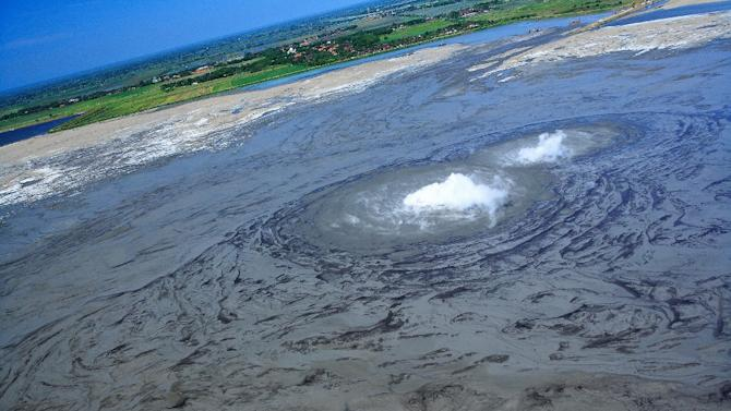 Smoke and hazardous gas has emitted from the crater vent of a mud volcano in Indonesia's East Java province continually for nine years, initially swallowing 12 villages and displacing more than 13,000 families