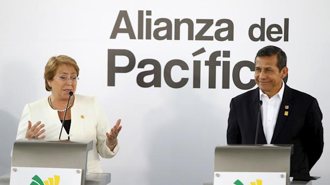 Chile's President Bachelet and her Peruvian counterpart Humala attend the 2015 Alianza del Pacifico political summit in Paracas