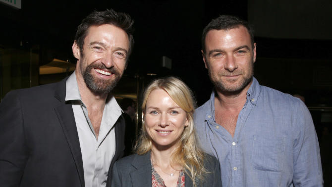 """Hugh Jackman, Naomi Watts and Liev Schreiber attend the LA premiere of """"Escape from Planet Earth"""" at the Chinese Theater on Saturday, Feb. 2,2013 in Hollywood. (Photo by Todd Williamson/Invision/AP Images)"""