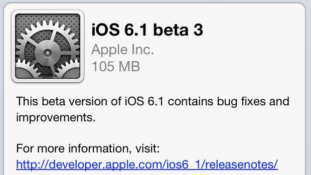 Apple seeds its third beta of iOS 6.1 to developers
