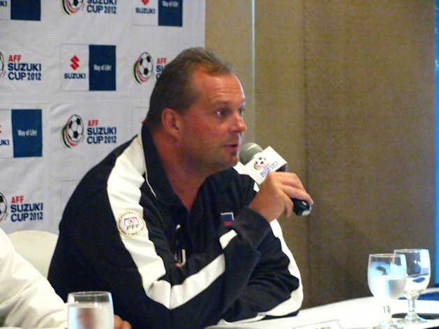 Azkals coach Hans Michael Weiss speaks at the press conference/send-off dinner. (Photo by Sid Ventura