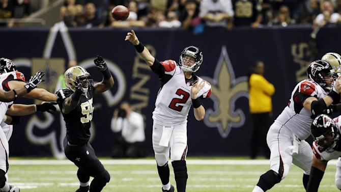 Atlanta Falcons quarterback Matt Ryan (2) passes from the pocket in the first half of an NFL football game against the Atlanta Falcons at Mercedes-Benz Superdome in New Orleans, Sunday, Nov. 11, 2012. (AP Photo/Bill Haber)