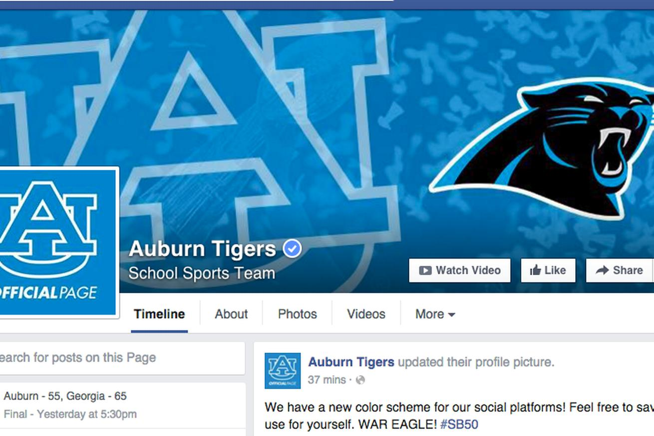 Auburn's so all in on Cam Newton's Super Bowl, it's wearing Panthers colors on Facebook