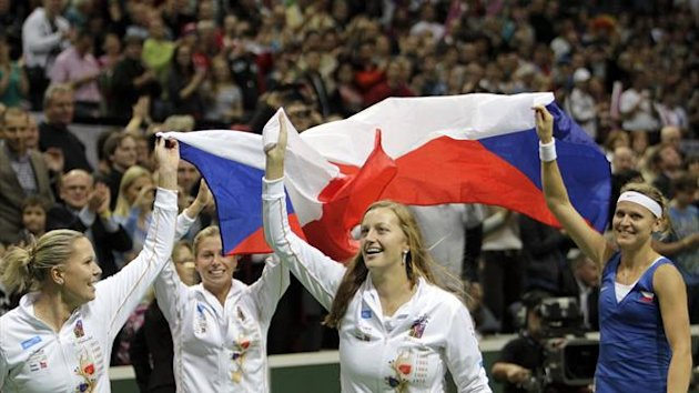 Czech Fed Cup team celebrate victory