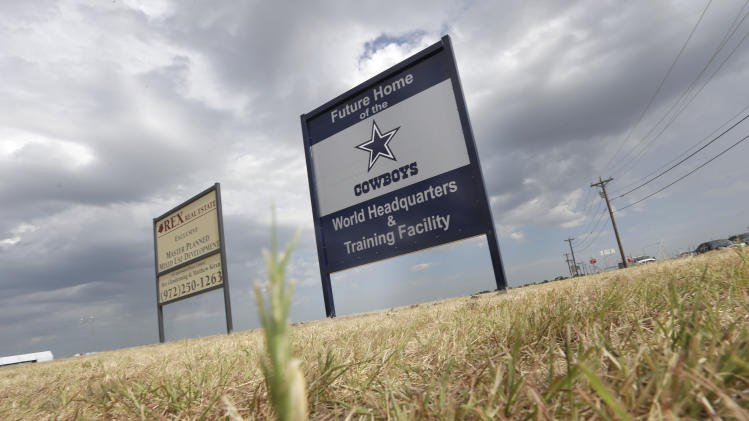 FILE - In this Aug. 13, 2013, file photo, a sign announces the future of the Dallas Cowboys football team headquarters and training facility in Frisco, Texas. New data from the Census Bureau shows that three of the nation's five fastest-growing cities are located in the Lone Star State. San Marcos, Frisco and Cedar Park, Texas were No. 1, 2 and 4 in percentage population growth between 2012 and 2013. (AP Photo/LM Otero, File)