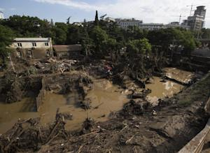 A destroyed flooded zoo area is seen in Tbilisi, Georgia,…