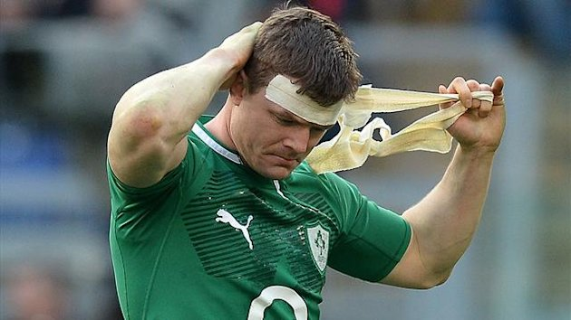 Ireland's centre Brian O'Driscoll reacts after the Six Nations International Rugby Union match between Italy and Ireland at the Olympic Stadium in Rome (AFP)