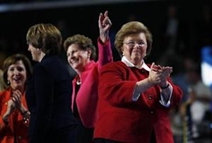 U.S. Senator Mikulski walks off stage with fellow female members of the U.S. Senate after addressing second session of the Democratic National Convention in Charlotte