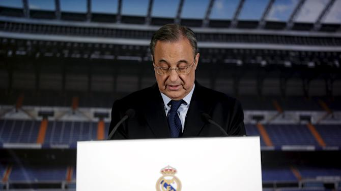 Real Madrid's President Perez speaks during a news conference at Santiago Bernabeu stadium in Madrid