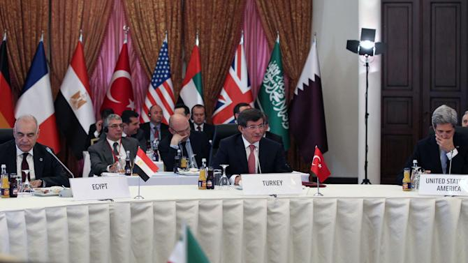 U.S. Secretary of State John Kerry, right, and some of the Friends of Syria group  during a meeting in Istanbul, Turkey,  Saturday, April 20, 2013. Kerry is expected to announce a significant expansion of non-lethal aid to the Syrian opposition.(AP Photo/Hakan Goktepe, Pool)