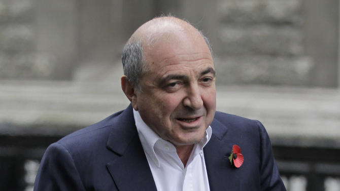 FILE - This is a Monday, Oct. 31, 2011 file photo of Russian tycoon Boris Berezovsky as he arrives at the high court in London.   Russian businessmen  Boris Berezovsky and  Roman Abramovich, rose to riches together in the chaotic years of post-Soviet Russia and then became archenemies and a British judge will soon rule on which oligarch will defeat the other in a multi-billion-dollar court battle. After a seven-month delay, Judge Elizabeth Gloster  is expect to deliver a summary ruling Friday Aug. 31, 2012 to settle the legal feud between Roman Abramovich, the billionaire Chelsea Football Club owner, and self-exiled tycoon Boris Berezovsky.  (AP Photo/Sang Tan, File)