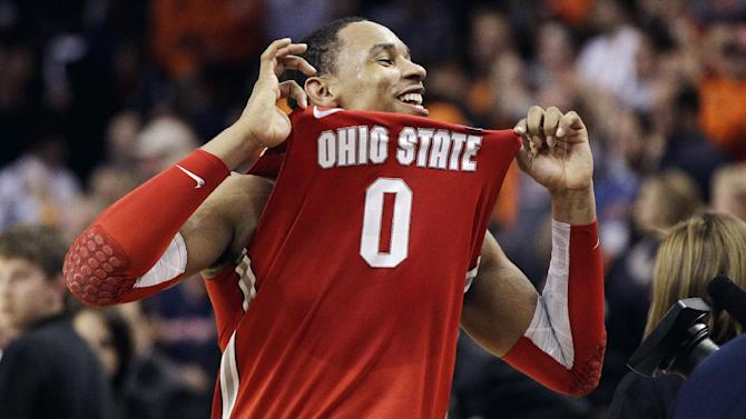 Ohio State forward Jared Sullinger celebrates his team's 77-70 victory over Syracuse in the East Regional final game in the NCAA men's college basketball tournament, Saturday, March 24, 2012, in Boston. (AP Photo/Elise Amendola)