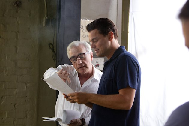 Scorsese and DiCaprio on the set of 'Wolf of Wall Street'