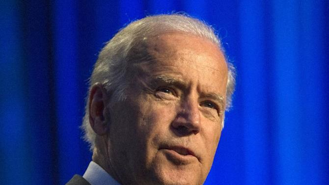 """FILE - In this July 16, 2015 file photo, Vice President Joe Biden speaks at Generation Progress's 10th Annual Make Progress National Summit in Washington. Biden will be among Stephen Colbert's first guests on """"The Late Show."""" CBS announced Tuesday, Sept. 1, 2015, that Biden will join previously announced guests Uber CEO Travis Kalanick and country singer Toby Keith on Sept. 10.  (AP Photo/Molly Riley, File)"""