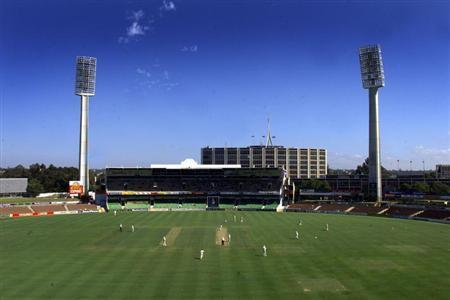 ENGLAND AND WESTERN AUSTRALIA PLAY IN A CRICKET MATCH IN PERTH.