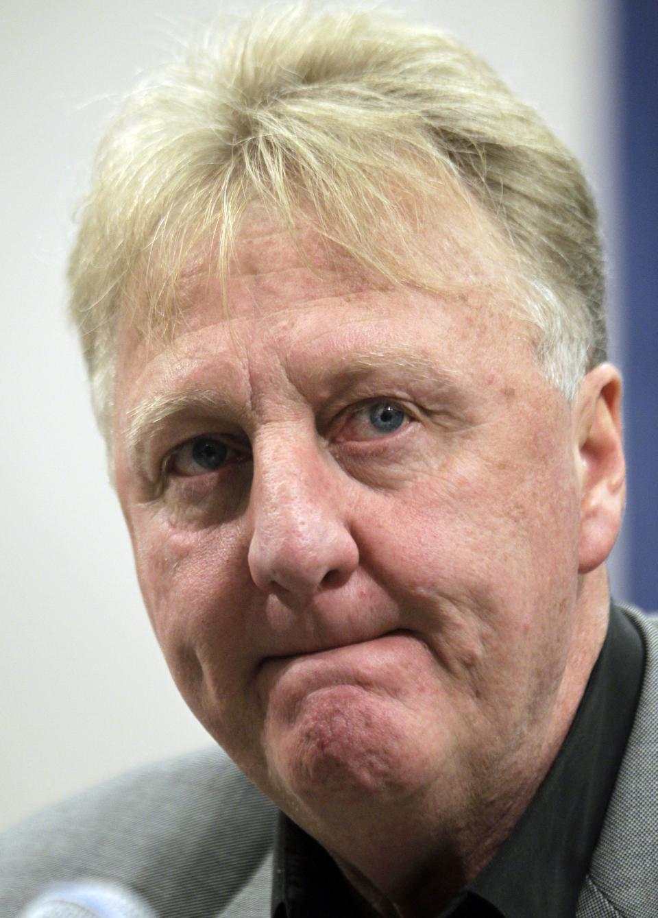 Larry Bird talks about stepping down as president of the Indiana Pacers during an announcement by the NBA basketball team in Indianapolis, Wednesday, June 27, 2012. Donnie Walsh was named as president and Kevin Pritchard as general manager. (AP Photo/Michael Conroy)
