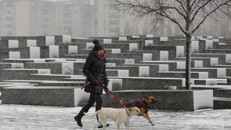 A woman runs her dogs during heavy snowfalls next to Berlin's Holocaust memorial