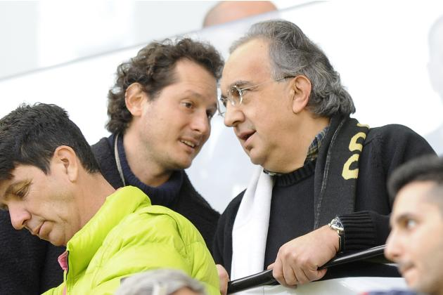FCA Fiat Chrysler Automobiles Chairman John Elkann and FCA CEO Sergio Marchionne talk before the Italian Serie A soccer match between Juventus and Fiorentina in Turin