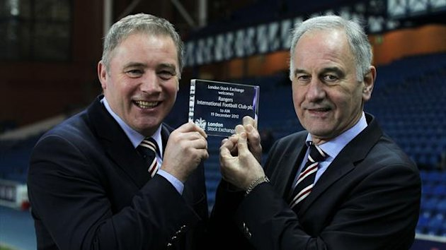 Ally McCoist, left, and Charles Green, with a stock exchange plaque